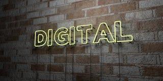 DIGITAL -在石制品墙壁上的发光的霓虹灯广告- 3D回报了皇族自由储蓄例证 库存图片