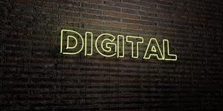 DIGITAL -在砖墙背景的现实霓虹灯广告- 3D回报了皇族自由储蓄图象 库存照片
