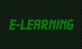 Digital (01) e-Learning. E-Learning made of zeros and ones with green neon light vector illustration
