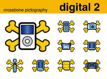 Digital 2 crossbone pictography Royalty Free Stock Images