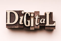 Digital. The word Digital done in letterpress type. Hand tinted for an antique look