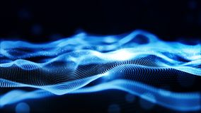 Digital abstract blue color wave particles flow background stock images