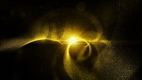 Digital abstract gold color particles twist and light background.  royalty free stock photo