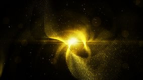 Digital abstract gold color particles twist and light background.  stock photography