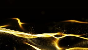 Digital abstract gold color wave particles flow background.  stock photo