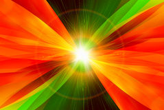 Digital abstraction with light on center. Abstraction with orange/burn/fire and green colors, electric light on center, symbol of energy Stock Image