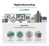 Digital accounting flat line web graphics Royalty Free Stock Photography
