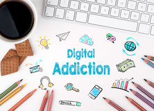 Digital Addiction, Business concept. White office desk Stock Photo