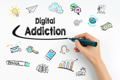 Digital Addiction concept. Hand with marker writing Stock Photography