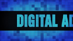 Digital Advertising Front Text Scrolling LED Wall Pannel Display Sign Board. Digital Advertising Front Text Scrolling on Light Blue Digital LED Display Board stock footage