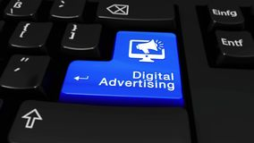 Digital advertising round motion on computer keyboard button. Digital Advertising Round Motion On Blue Enter Button On Modern Computer Keyboard with Text and stock video