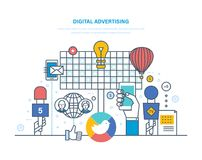Digital advertising, targeted interactive content marketing, media planning, brand promotion. Digital advertising, targeted interactive content marketing, media stock illustration