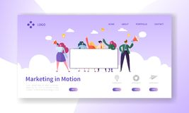 Digital Advertising Team Holding Blank Banner. Marketing Teamwork Character Design for Landing Page. People Make Announcement Concept for Landing Page. Flat royalty free illustration