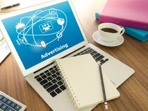 Digital advertising Technology. Concept. Laptops with social media networks on their desks Royalty Free Stock Photography
