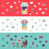 Digital affär royaltyfri illustrationer