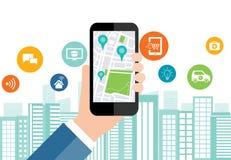 Digital affär och smart stadsanslutning för samkväm på mobil royaltyfri illustrationer