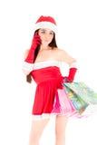 In the digital age Mrs. Santa Royalty Free Stock Photos