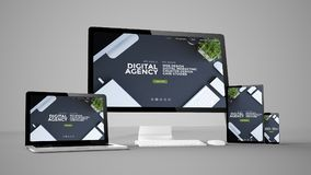 computer gadgets with digital agency website on screen Stock Photography