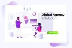 Digital-Agentur Zeitmanagement- und -b?rosituationen Dieses ist Datei des Formats EPS10 Flache Vektorillustration lizenzfreie abbildung