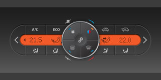 Digital air condition control panel with orange LCD Royalty Free Stock Image