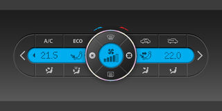 Digital air condition dashboard design with blue lcd. Digital air condition dashboard design with lots of options and blue lcd royalty free illustration