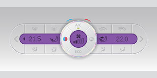 Digital air condition white dashboard design with purple lcd Royalty Free Stock Photo