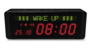 Digital alarm clock. With LED display on white background Stock Photos