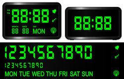 Digital alarm clock. Black display royalty free illustration