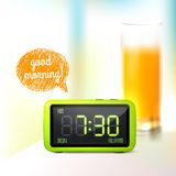 Digital alarm clock background Stock Image