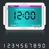 Digital alarm clock blue. Digital alarm clock isolated on dark grey with reflection and spare digital numbers royalty free illustration