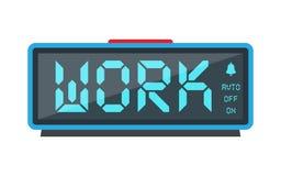 Digital alarm clock, with the inscription work Royalty Free Stock Photos