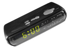 Digital alarm clock radio Stock Photo