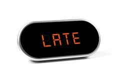Digital alarm clock with text - late Royalty Free Stock Image