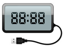 Digital alarm clock with USB cable. Isolated royalty free illustration