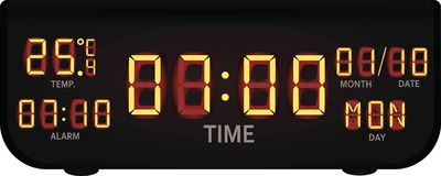 Digital alarm clock. Vector illustration Royalty Free Stock Image