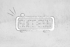 Digital alarm with word Success instead of time. Digital alarm clock with the word Success on the screen instead of the time Royalty Free Stock Images