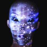 Digital Alien Visualization. Digital female Alien Face Visualization Royalty Free Stock Image