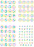 Digital alphabet Printable circles love words Glamorous style. Printable glamorous stickers are excellent for glass cabochons, resin pendants, rings, earrings stock illustration