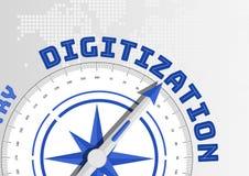 Digital-Analog-Wandlung Konzept mit dem Kompass, der in Richtung zum Text zeigt lizenzfreie abbildung