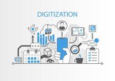 Digital-Analog-Wandlung Konzept mit der Hand, die freies intelligentes Telefon der modernen Einfassung hält lizenzfreie abbildung