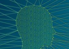 Digital-Analog-Wandlung und der künstlichen Intelligenz Konzept mit Seitenprofil des Kopfes und codieren Software- stock abbildung