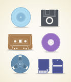 Digital and analogue storage. Icons Stock Images