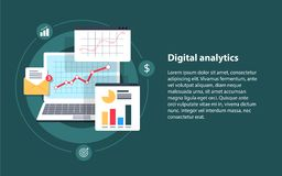 Digital analytics, Big data analysis, data science, market research, application. Flat  banner illustration with icons. Business analysis, data analytics and Stock Photography