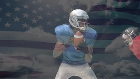 Quarterback catching the ball and being tackled with the american flag on the background. Digital animation of African American quarterback catching the ball stock footage