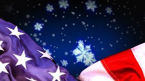 Digital animation of American flag and snowflakes. Snow falling in background 4k