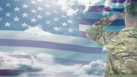 Digital animation of American soldier saluting against American flag. Swaying American flag against sky and cloud 4k stock footage