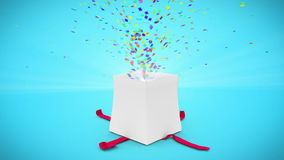 Digital animation of birthday gift exploding stock video footage