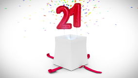Digital animation of birthday gift exploding and revealing number twenty one stock video