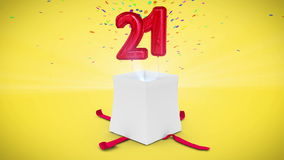 Digital animation of birthday gift exploding and revealing number twenty one stock video footage