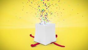 Digital animation of birthday gift exploding stock video